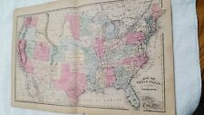 VINTAGE CIVIL WAR RELATED UNITED STATES MAP- S. WALKER, BOSTON