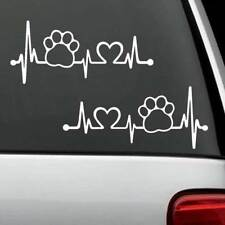 2-COUNT Paw Heartbeat Lifeline Monitor Dog Cat Pet K1083a Decal Sticker Pet Gift