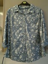 LADIES SIZE 12 COTTON SHIRT BLOUSE / JACKETT PALE BLUE, WHITE, TURNED CUFFS. NEW