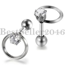 Hollow Circle Women's Stainless Steel Round Cubic Zirconia Stud Earrings 2pcs