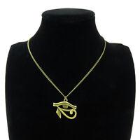 "New Bronze Egyptian Eye of Horus Ra Amulet Pendant Choker Short Necklace 18"""