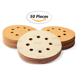 """5"""" 8 Hole Sanding Discs 60 Grit Dustless Hook and Loop Sandpaper Orbital Sander"""