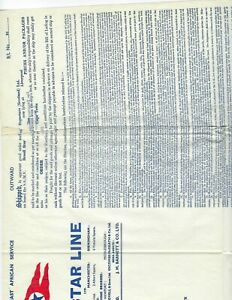 BLUE STAR LINE  SHIPPING DOCUMENT LONDON TO SOUTH AND WEST AFRICA   LARGE VF