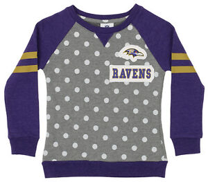 OuterStuff NFL Youth Girls Team Logo Polka Dot Print Crew, Baltimore Ravens