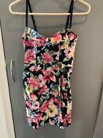 ladies Jane Norman summer black floral dress size 6 holiday beach