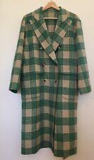 Mxmaje Korean ladies oversized Long Wool cashmere lapel coat Green beige Plaid
