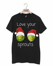 Batch1 Love Your Sprouts Christmas Santa Hat Novelty Mens Xmas T-shirt XXL Black