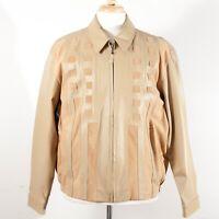Missani Le Collezioni Leather Basketweave Suede Zip Jacket Tan Men's Size L