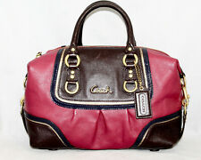 COACH F17455 Ashely Spectator 2-Way Satchel Shoulder Bag Red Brown Lthr $398