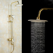 Gold Polished Rain Shower Faucet Set Tub Mixer Tap With Hand Shower Wall Mount