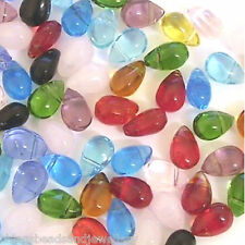 120 Crystal glass Teardrop Beads 9x6mm Jewellery Making Multi Listing