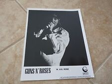 Guns & Roses Axl Rose Vintage Live 1987 8x10 B&W Promo Press Kit Music Photo
