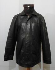 Next Men's Layered Heavy Black Leather Jacket - Medium