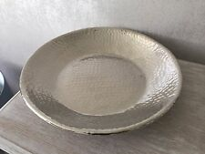 Silver Modern Contemporary Decorative Hammered Plate Bowl HOME Decor Gift