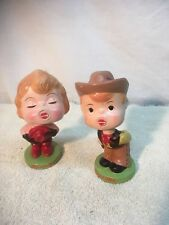 Vintage Japan Cowboy and Cowgirl Bobble head doll Kiss Me VALENTINE