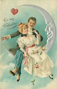 TO MY VALENTINE - PFB 6859 - MAN & WOMAN SIT IN MOON - EMBOSSED HOLIDAY POSTCARD