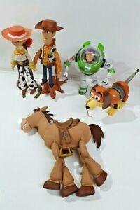 Talking Woody, Jessie, Bullseye, Slinky & Buzz Thinkaway Large With Stands RARE