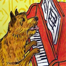 Norwich Terrier pop art Tile coaster gift Jschmetz piano paper weight folk art