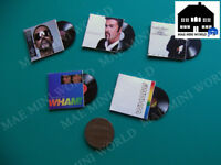 Wham & George Michael custom. 5 Miniature music record vintage. Scale 1/12.