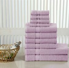 LILAC/BLUSH PINK 10 PCS TOWEL BALE SET 100% EGYPTIAN COTTON FACE HAND BATH TOWEL