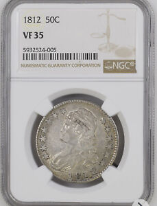1812 Capped Bust Half Dollar 50C NGC VF35 Nice Earlier Silver Coin Mint Luster