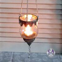 #10669 Hängewindlicht Windlicht Teelichthalter Silber Metall Orient Shabby Chic