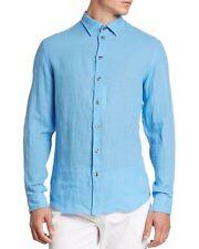 Armani Collezioni Blue Linen Button Down Long Sleeve Shirt Size L $295