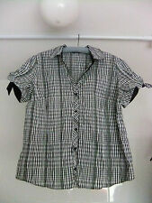 M&S Black & White Short-Sleeve Blouse Shirt With Tie/Bows On The Sleeves Size 22