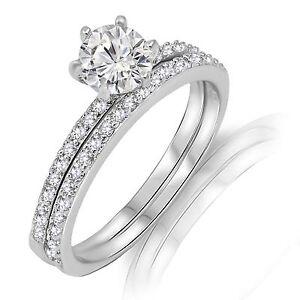 Brilliant Cut Thin Engagement Wedding CZ Sterling Silver Ring Set 2.10 Ctw
