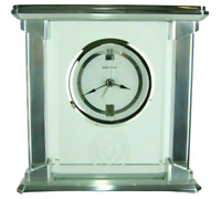 Ohio State University Mantle Clock OSU Benchmark Desk Quartz Alarm Silver Glass