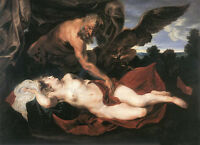 Dream-art Oil painting Anthony van Dyck Jupiter and Antiope in landscape canvas