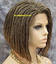 """16"""" Bob Black Blonde Mix W. Baby Hair Box Braided Full Lace Front Wig Hair Piece"""
