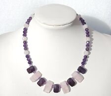 Handmade Ladies Jewellery necklace with amethyst and pink quartz