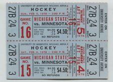 MINT UNUSED Full Tickets 1977-78 Minnesota Gophers Michigan State Hockey Tickets