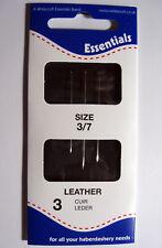 3 x Leather sharp sewing needles with flattened tips - sizes 3/7