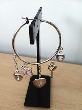 Loop Hoop Earrings Jordan Costume Steel Pink Stone Charm