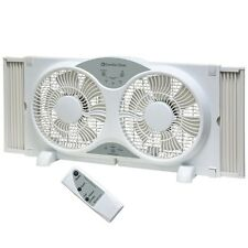 "9"" Dual Blade Twin Window Ventilation Fan - 3 Fan Function w/ Remote"