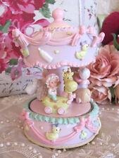 Child Baby Girl Newborn Pink Musical Carousel Snowglobe Christening Birth