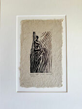 MATTED 12x16 Original Woodcut Classic Female Pose Princess Seated in Throne