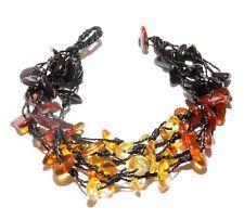 Genuine Baltic Amber Adult Bracelet 5-Line Rainbow 20 - 21 cm/ 7.9 - 8.3 in