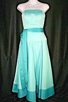 Mori Lee Madeline Gardner Aqua Blue Strapless Belted Formal Dress - Size 4