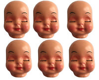 "Lot of 4 Vintage Large 5/"" Celluloid Plastic Craft Doll Making Faces Masks Heads"