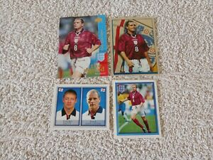 PAUL GASCOIGNE trading card + 3 sticker MERLIN UPPER DECK great condition