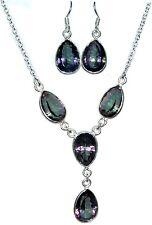 Sterling 925 SILVER SET Mystic Quartz Necklace Earrings; Multi Purple Green Gems