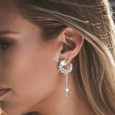 18k white gold gf made with SWAROVSKI crystal stud earrings 925 silver dangle