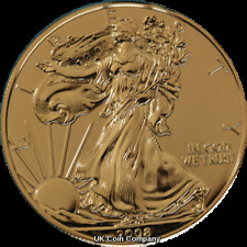 2008 American 1oz Fine Silver Eagle $1 One Dollar Coin Gold Gilded