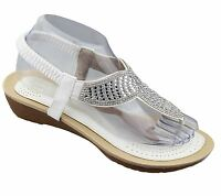 Womens Diamante Sandals Ladies Summer Wedge Heel Toe Post Wedding Beach Shoes