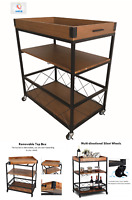 Vintage 3 Tier Metal/Wood Rolling Kitchen Trolley Organiser Storage Cart Wheels