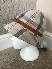 17d62b0da8c Barbour Grey Dress Tartan Linen   Cotton Blend Trench Hat Size Small