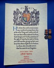 More details for world war one memorial scroll with personlised inscription